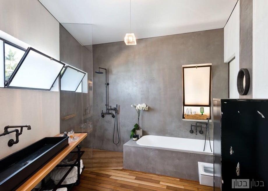 חדר אמבטיה בחיפוי בטון