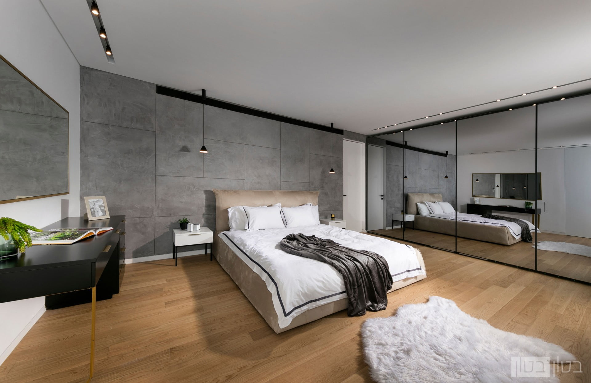 חיפוי קיר בטון בחדר שינה
