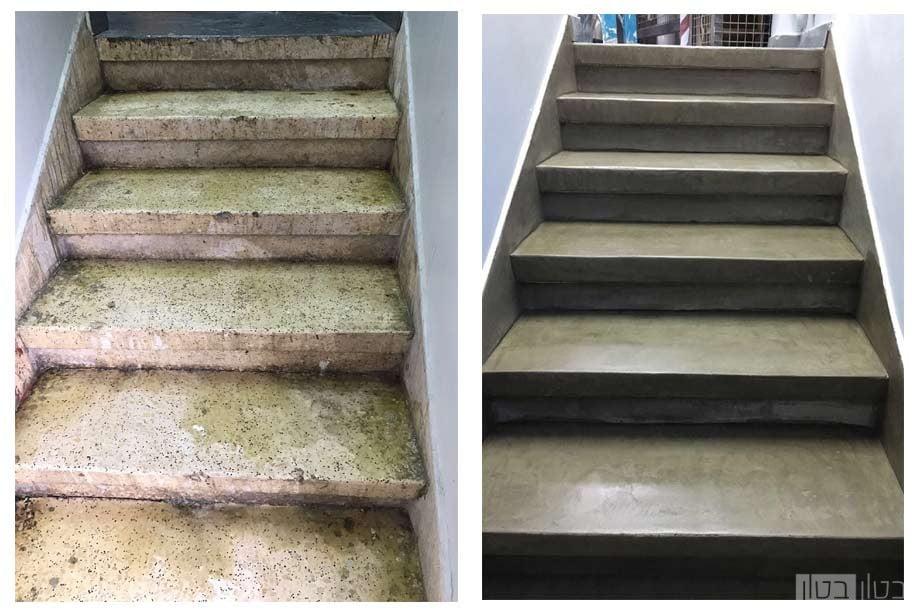 לפני ואחרי של חיפוי מדרגות מיקרוטופינג