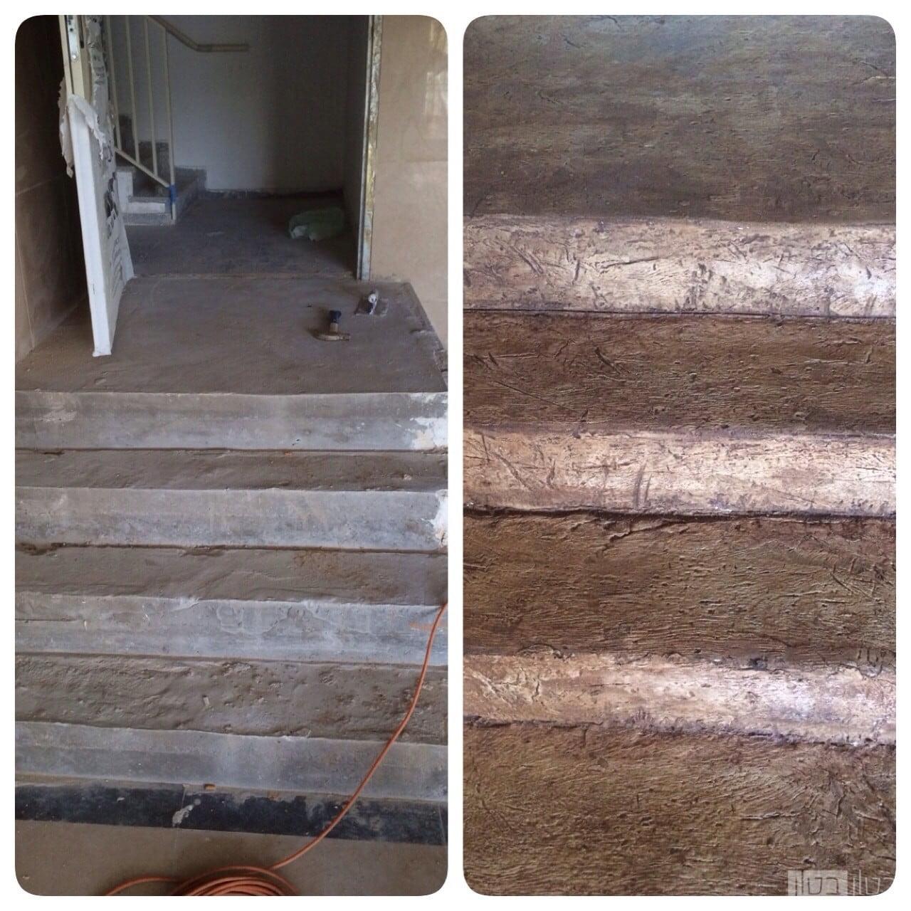 לפני ואחרי של מדרגות בחיפוי מיקרוטופינג בטקסטורה של קרשים